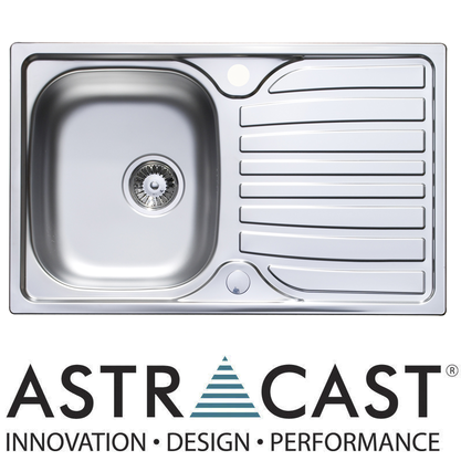 Astracast Cascade 1.0 Compact Bowl Satin Stainless Steel Kitchen Sink &amp; Waste Preview